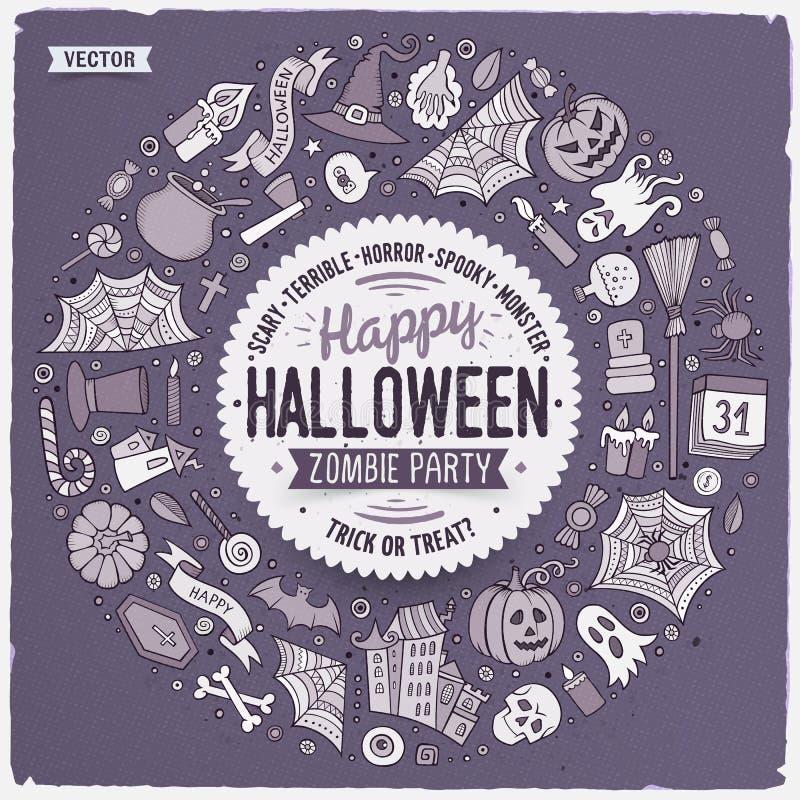 Round ramowi Halloweenowi kreskówki przedmioty, symbole i rzeczy, royalty ilustracja