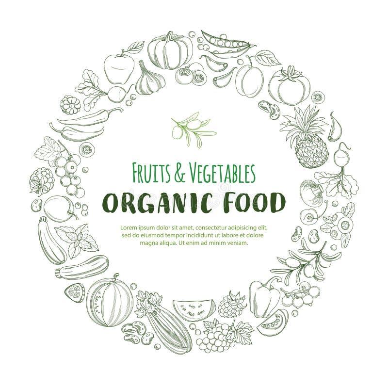 Round ramy granicy wzoru organicznie rolni świezi owoc i warzywo ilustracji