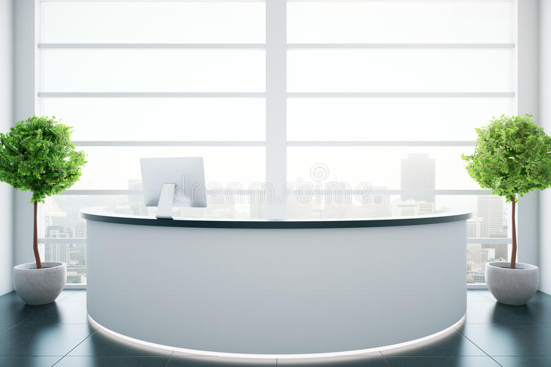 Round reception desk. In white interior with city view and two decorative plants. 3D Rendering royalty free illustration