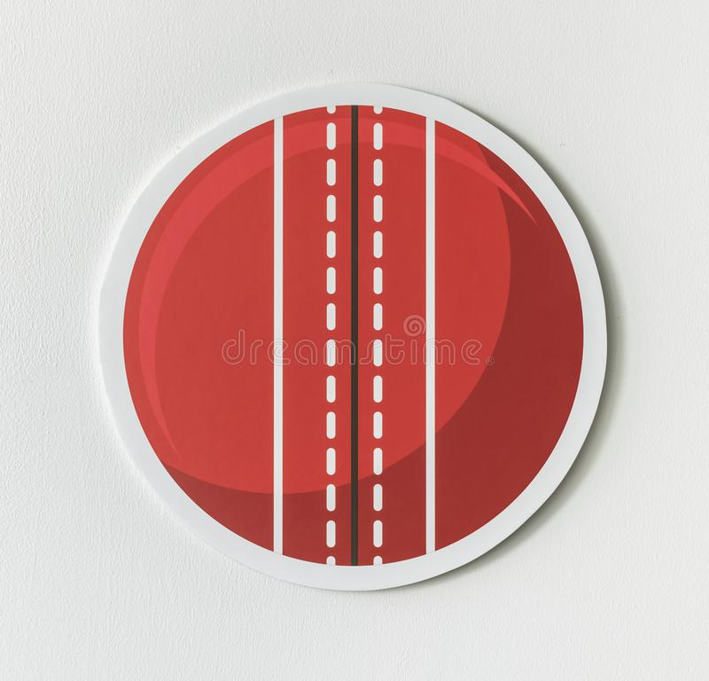 Round red cricket ball icon vector illustration