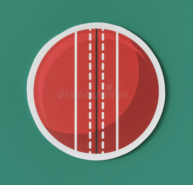 Round red cricket ball icon royalty free illustration
