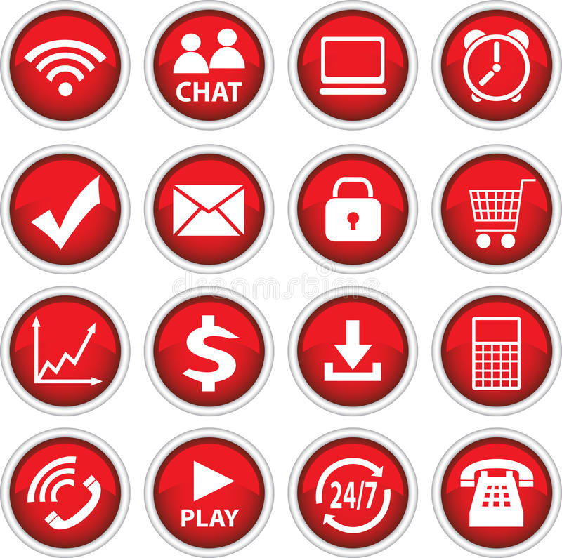 Round red vector icons vector illustration