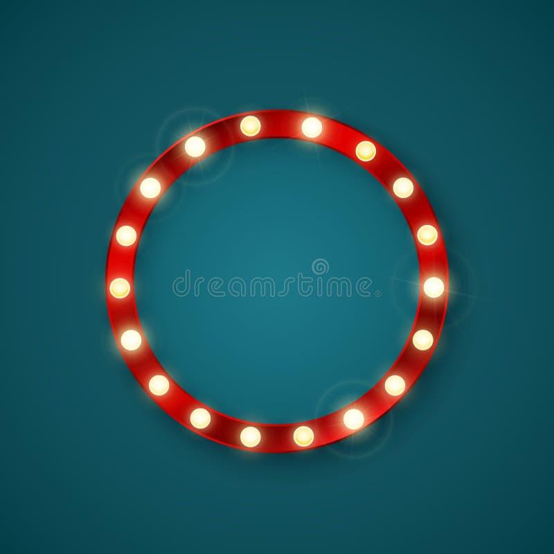 Round retro banner with shining lights. Vector illustration vector illustration