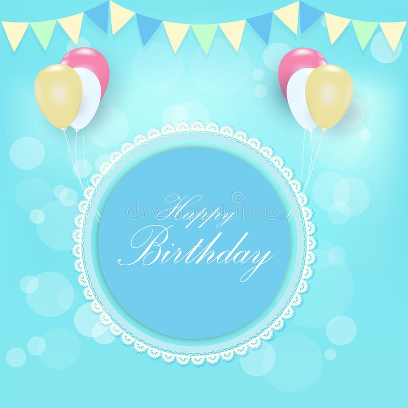 Round Retro Frame Balloons Greeting Card Happy Birthday Card Stock