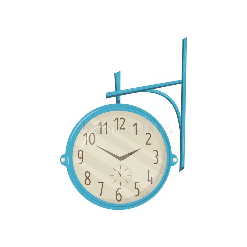 Round retro street clock with blue frame hanging on metal pole. Vintage object. Street decor element. Flat vector icon royalty free illustration