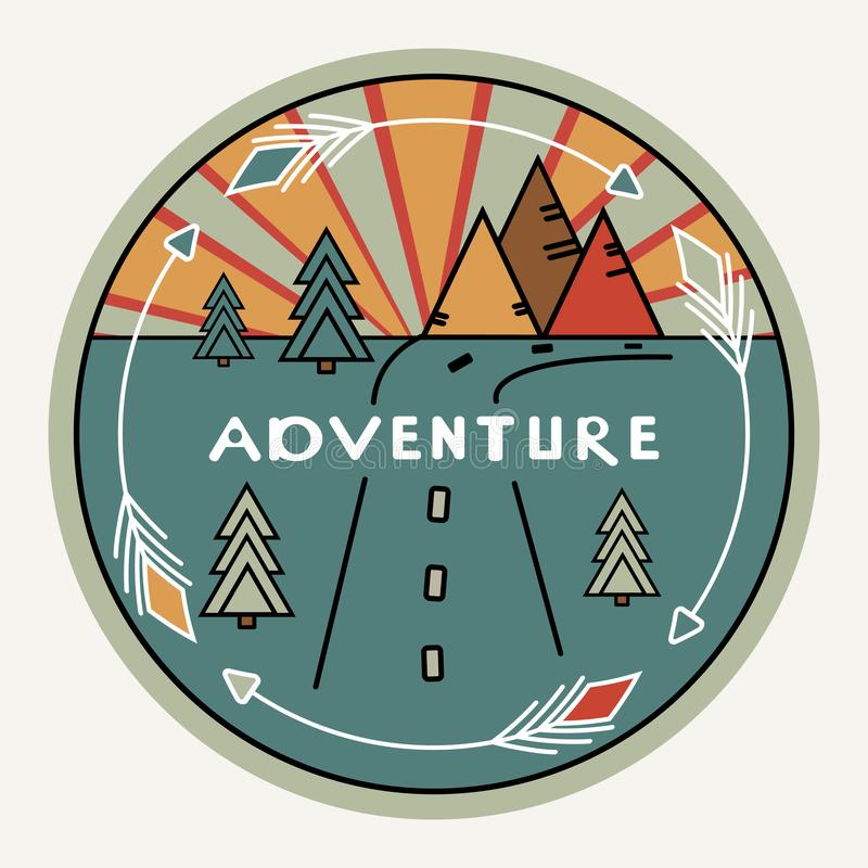 Round retro or vintage style. Outdoor decor for cars, travel. Mountains, pines, sunset. Inscription Adventure. The vector illustration