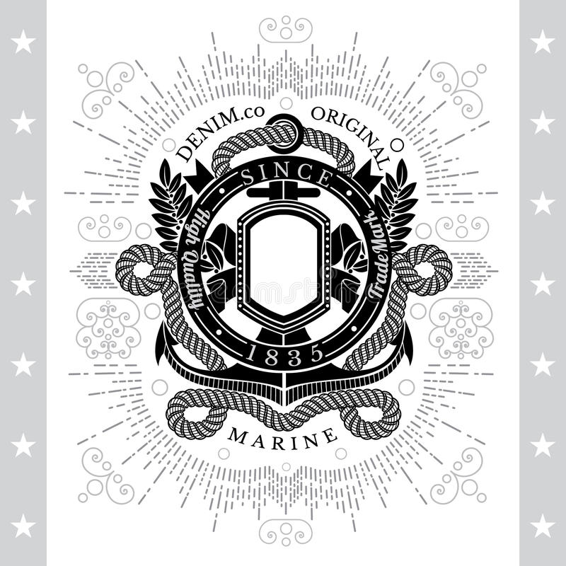 Round Ribbon Frame With Anchor And Rope. Sea Vintage Black Label Isolated royalty free illustration