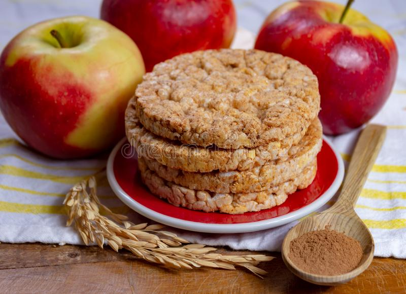 Round rice crackers made with apple and cinnamon, healthy snack for breakfast, lunch and school food. Close up stock photography