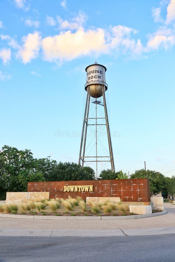 Round Rock, Teksas Historyczny Stary wieża ciśnień obraz stock