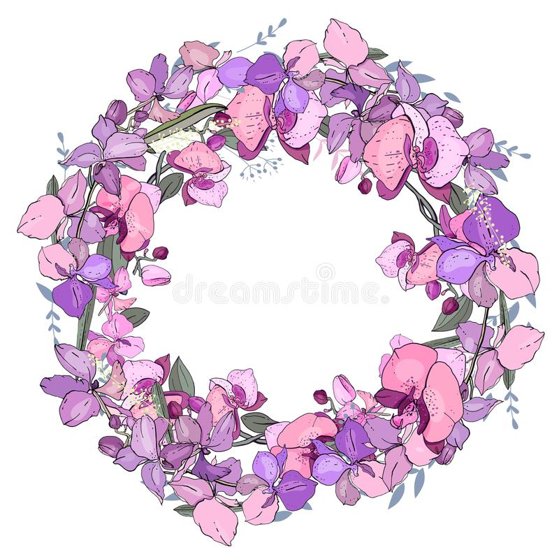 Round romantic floral frame made of orchids. vector illustration