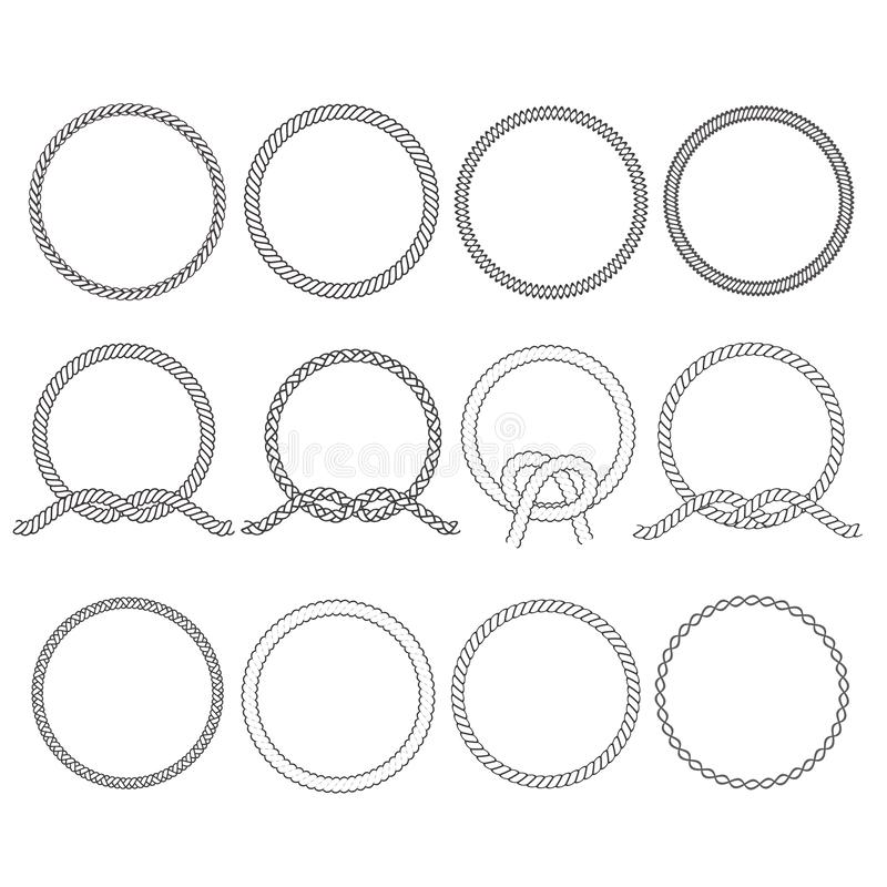 Round rope frame. Circle ropes, rounded border and decorative marine cable frame circles. Rounds cordage knot stamp or nautical. Twisted knots logo isolated stock illustration