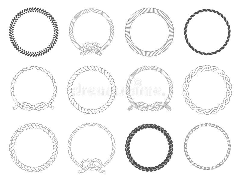Round rope frame. Circle ropes, rounded border and decorative marine cable frame circles isolated vector set stock illustration