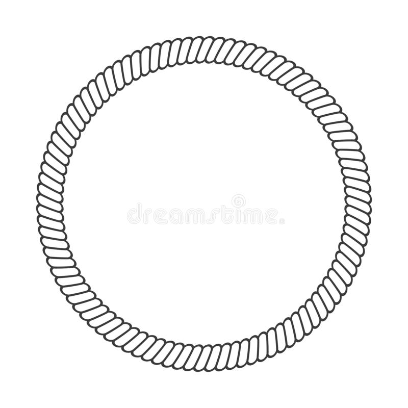 Round rope frame. Circle ropes, rounded border and decorative marine cable frame circles. Rounds cordage knot stamp or nautical stock illustration