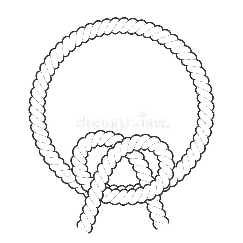 Round rope frame. Circle ropes, rounded border and decorative marine cable frame circles. Rounds cordage knot stamp or nautical. Twisted knots logo isolated royalty free illustration