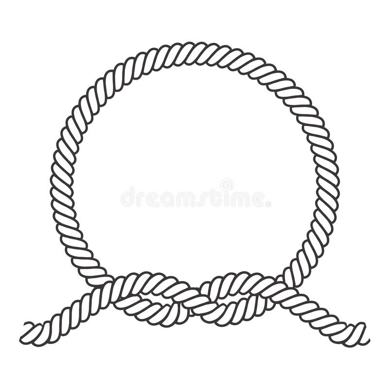 Round rope frame. Circle ropes, rounded border and decorative marine cable frame circles. Rounds cordage knot stamp or nautical. Twisted knots logo isolated vector illustration