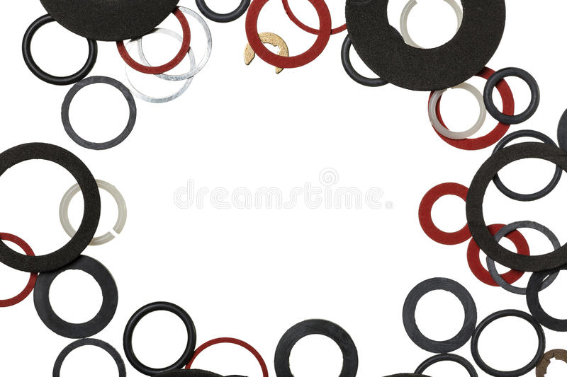 Round rubber gaskets. For sanitary fittings and water supply with copy space royalty free stock photo