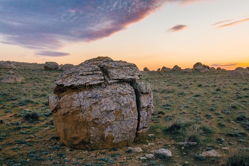 Round sandstone formation in the desert in western Kazakhstan stock image