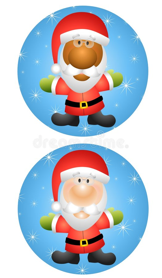 Round Santa Claus Icons 2. An illustration featuring your choice of Santa Claus icons - caucasian and african american on blue vector illustration