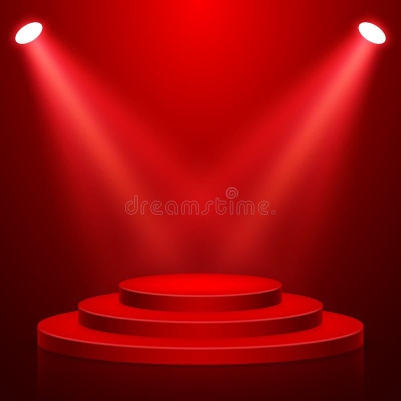 Round sceny podium z światłem Scena wektoru t?o ?wi?teczna podium scena z czerwonym chodnikiem dla ceremonii wr?czenia nagr?d r?w ilustracja wektor