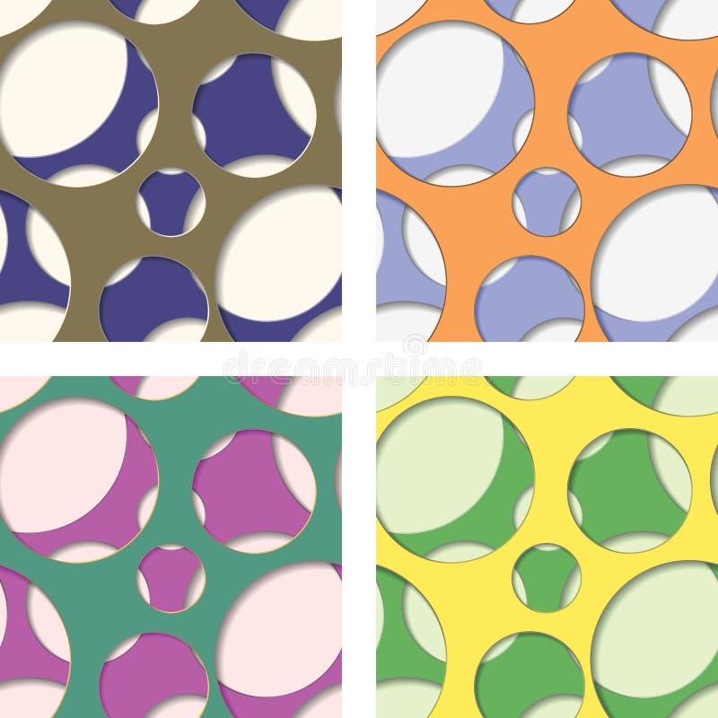 Round seamless patterns of random circles. Set of four seamless patterns of random circles with transparent background. Vector illustration stock illustration
