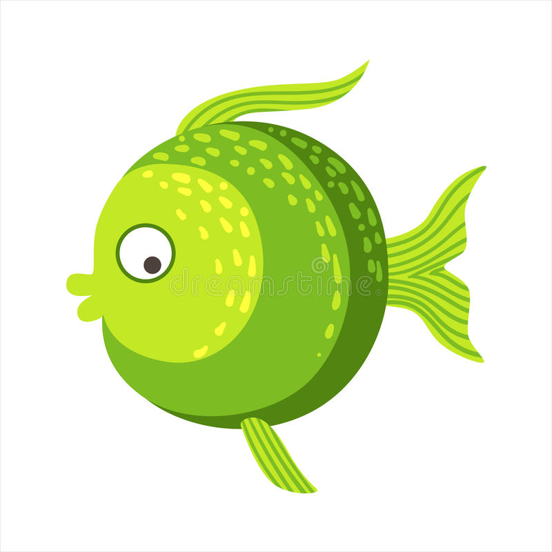 Round With Shades Of Green Fantastic Colorful Aquarium Fish, Tropical Reef Aquatic Animal royalty free illustration