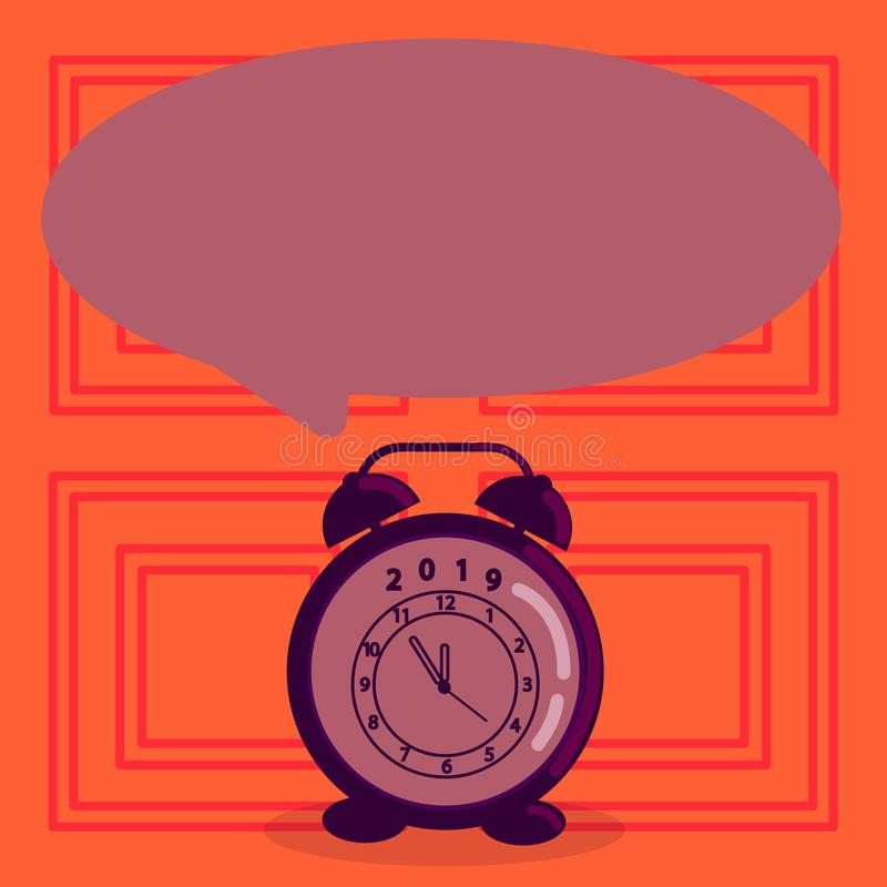 Round Shape Blank Speech Bubble and Analog Alarm Clock in Pastel Shade. Pale Color Text Balloon and Table Timepiece vector illustration