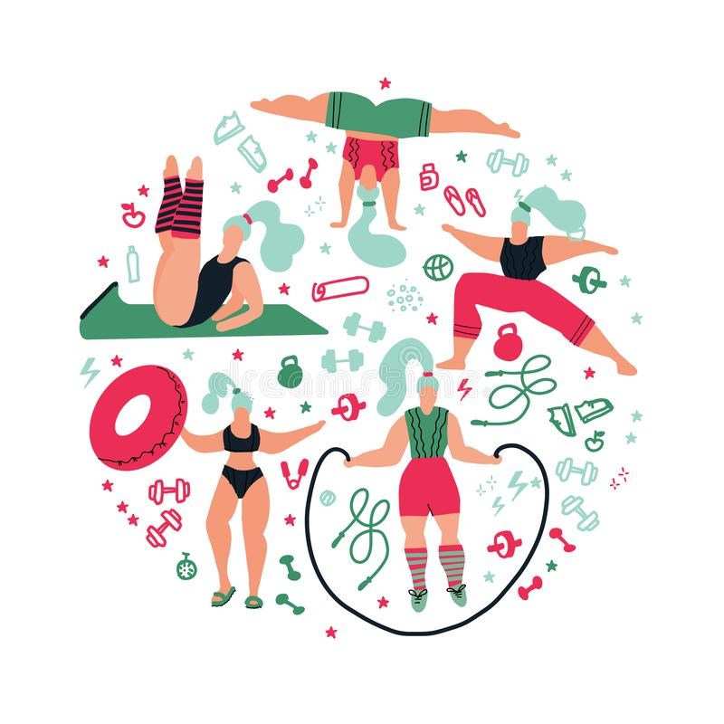 Round shape composition Women doing sports.Poses of yoga, exercises for health, fitness, swimming. Cute girls  flat stock illustration