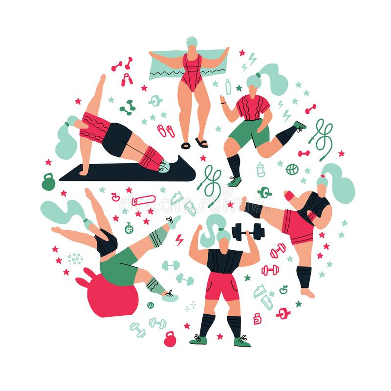 Round shape composition Workout in the gym on white background. Women doing sports. Poses of yoga, kickboxing, exercises for stock illustration
