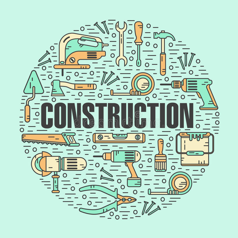 Round shape concept of constructions tools royalty free illustration