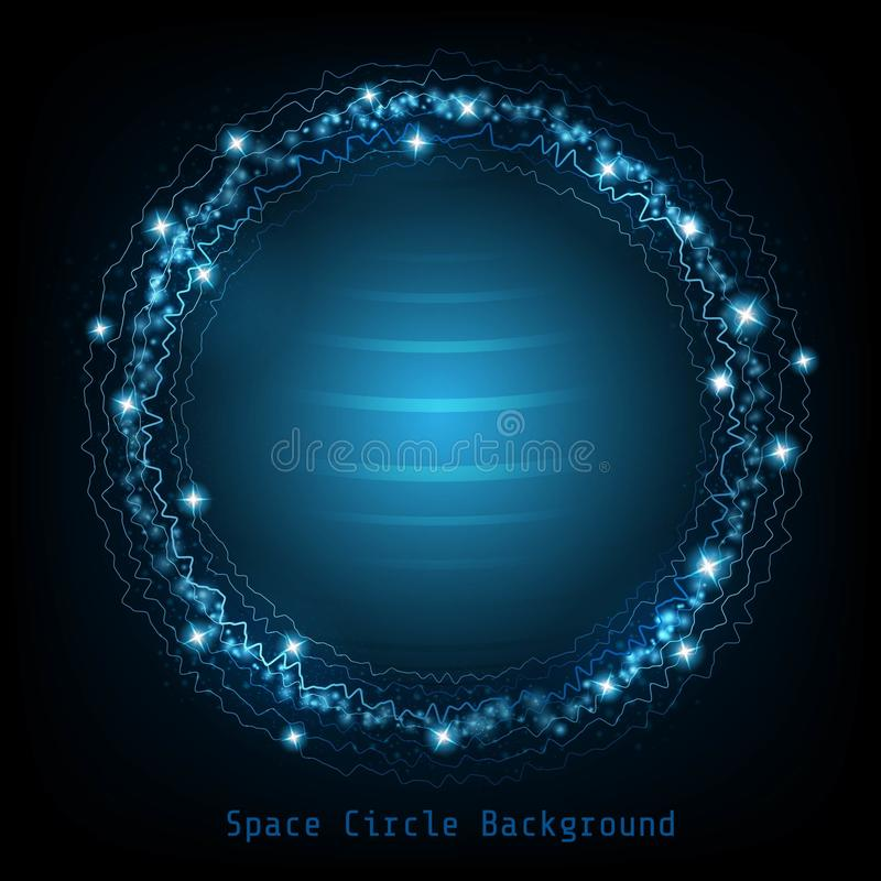 Round shape on dark blue with starry star dust and shiny around wave line stock illustration