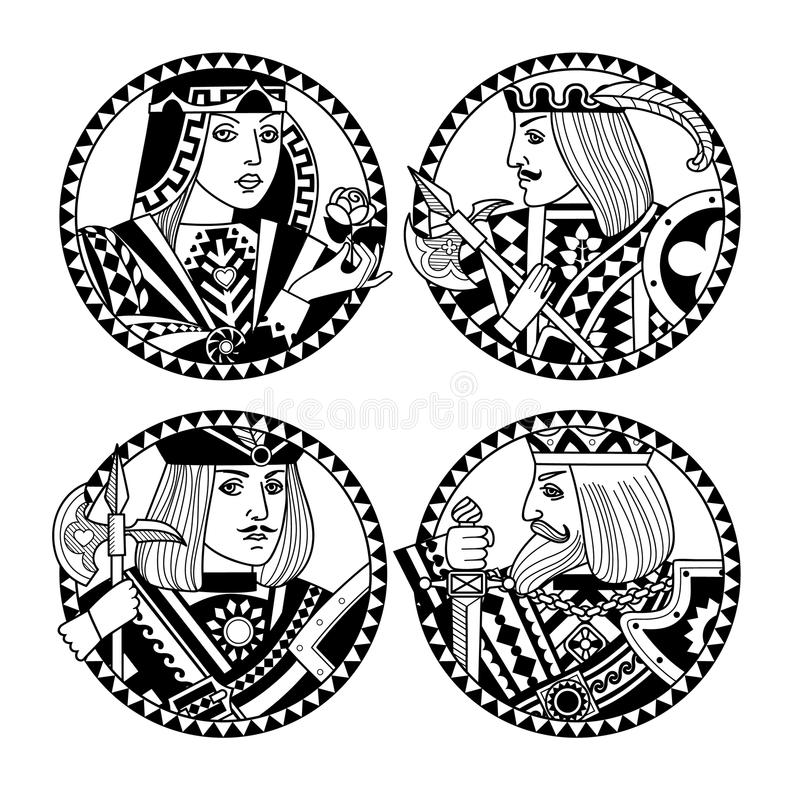 Round shapes with faces of playing cards characters in black and vector illustration