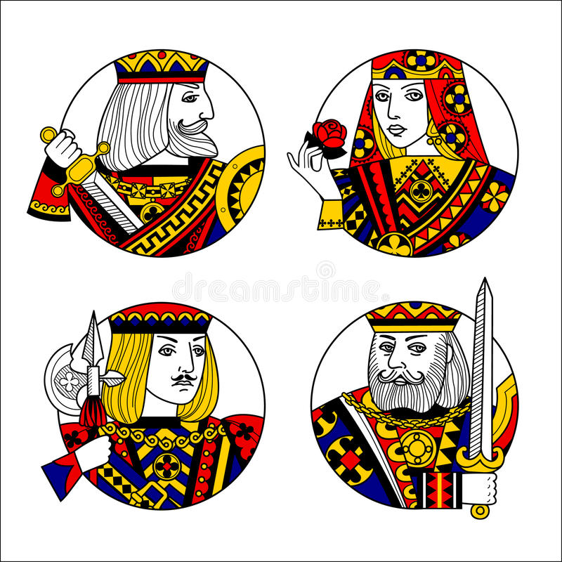 Round shapes with faces of playing cards characters vector illustration