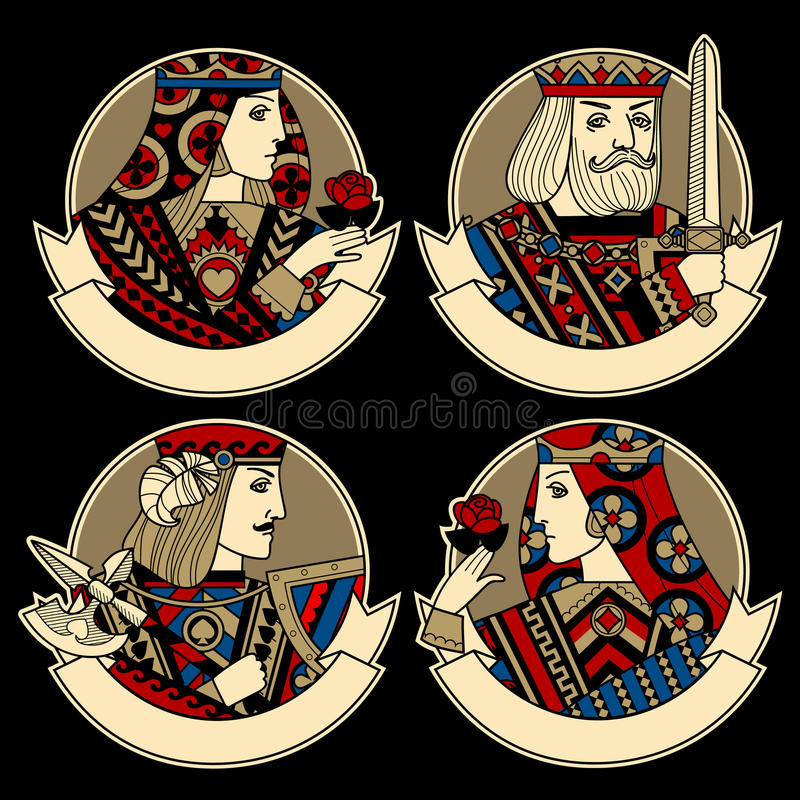 Round shapes with faces of playing cards characters and ribbons vector illustration