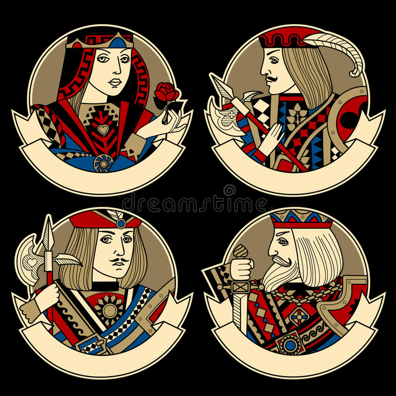 Round shapes with faces of playing cards characters and ribbons stock illustration