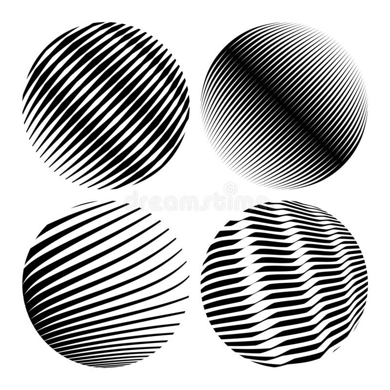 Round shapes. Geometric abstractions for backgrounds and logos.  stock illustration