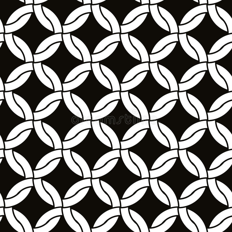 Round shapes netting seamless pattern, black and white vector background. stock illustration