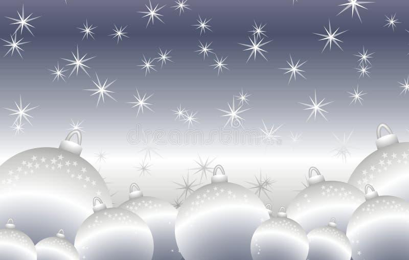 Round Shiny Silver Christmas Ornaments Background stock illustration
