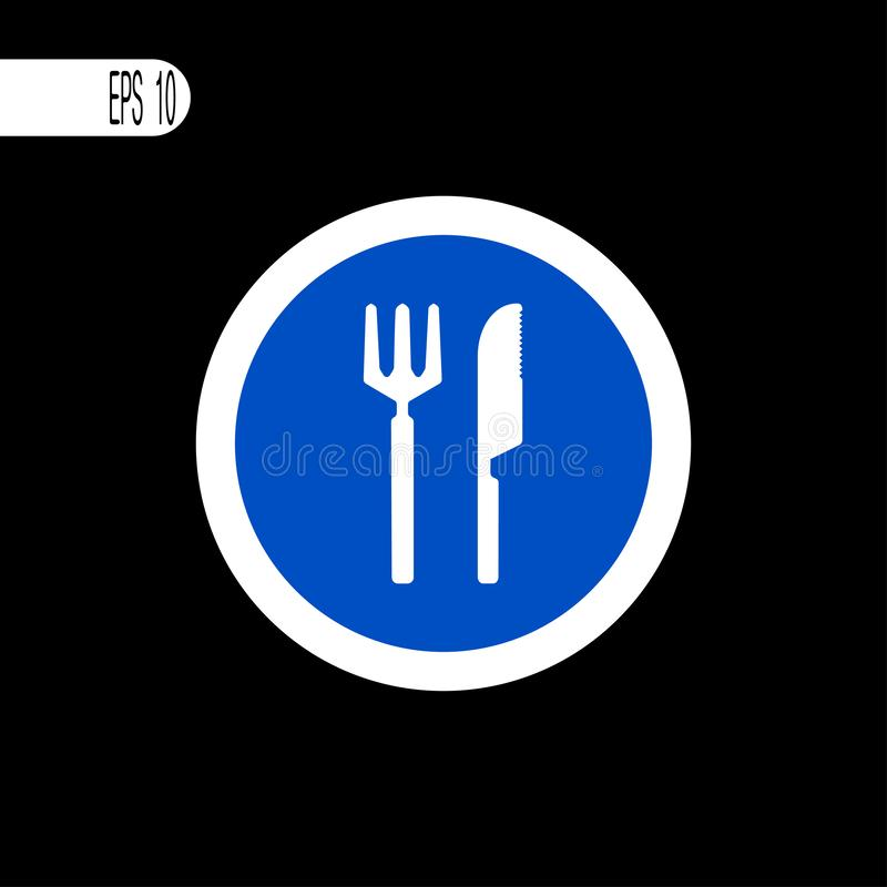 Round sign white thin line. Road fork and knife sign, icon -  illustration royalty free illustration