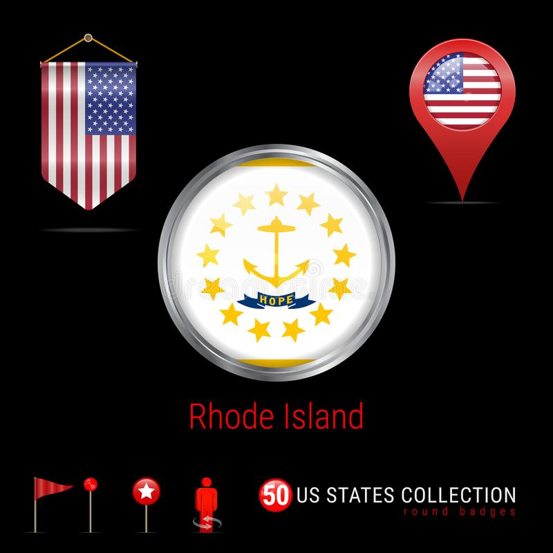 Round Chrome Vector Badge With Rhode Island US State Flag. Pennant ...