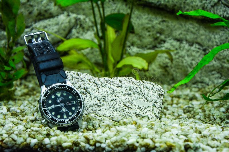 Round Silver-color Rolex Analog Watch With Black Strap stock photography
