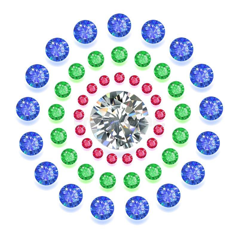 Round składu barwioni klejnoty ustawiający ilustracji