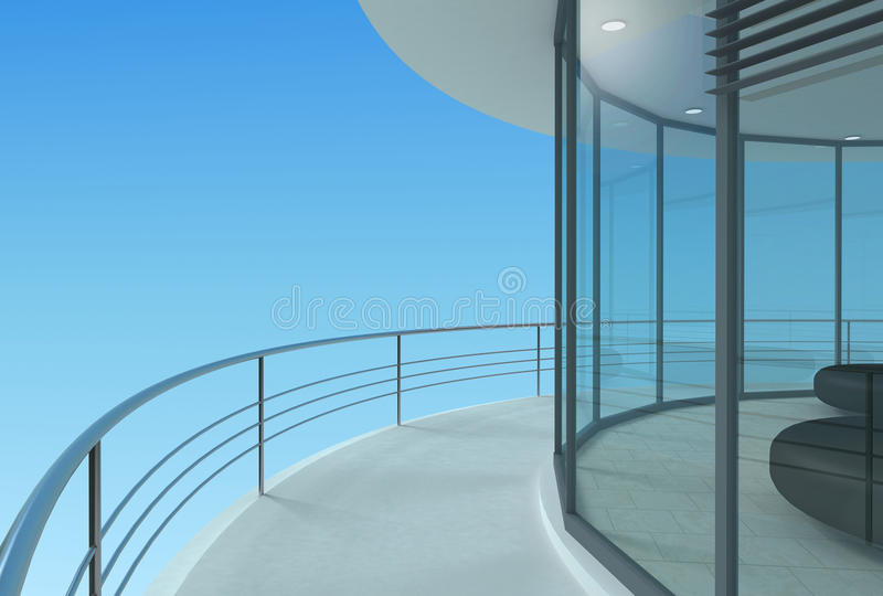 Round skyscraper terrace royalty free stock photography