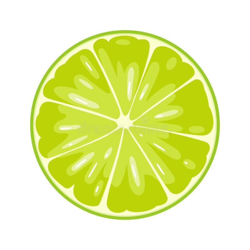 Round slice of lime on white background. Flat color illustration. Round slice of lime. Isolated on white background. Vector flat color illustration stock illustration