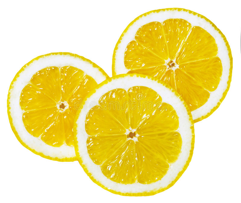 Round slices of lemon stock image