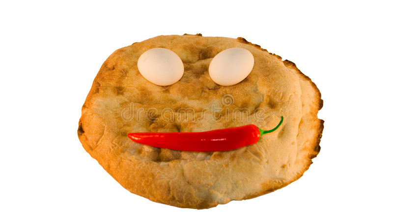 Round smiling bread with vegetables and eggs stock photo