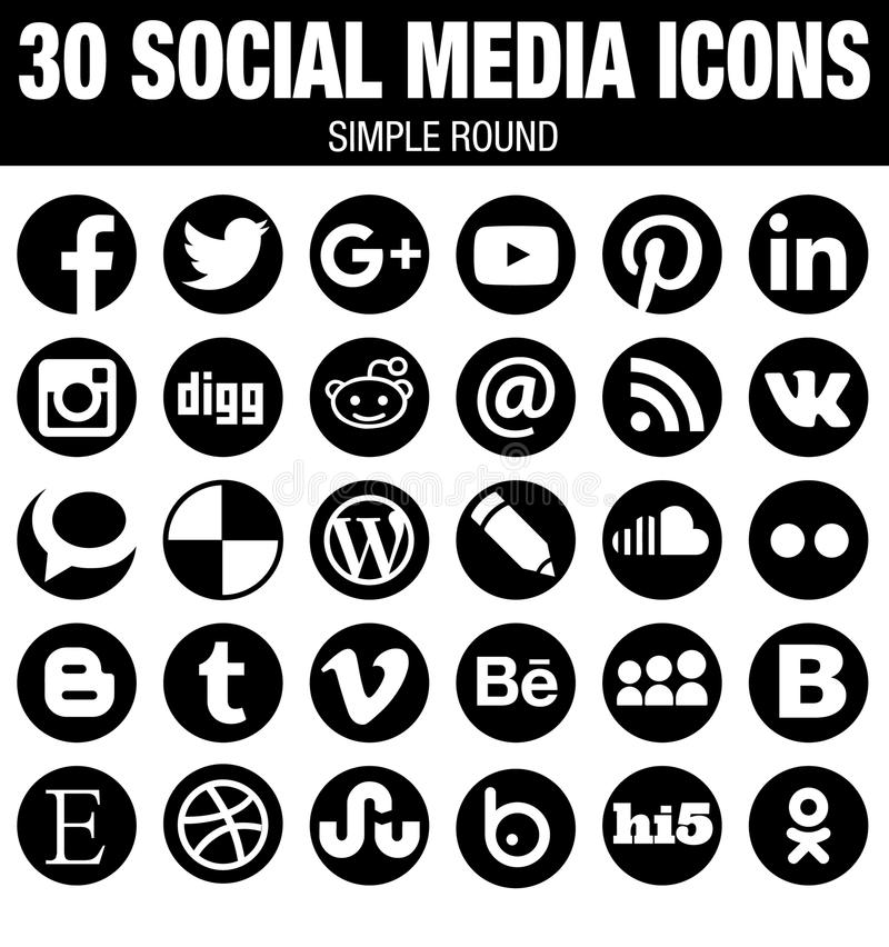 Round social media icons collection - black. 30 elegant modern round Social Media icons collection, black, the base must-have icon set for webdesign and stock illustration