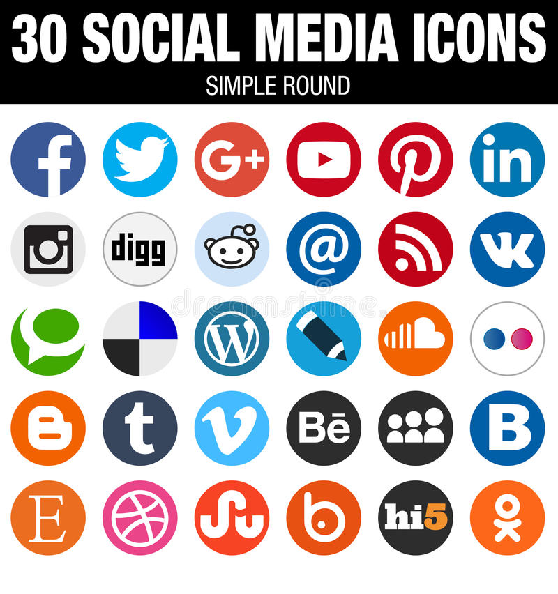 Round social media icons collection flat simple modern set. 30 round elegant flat Social Media icons collection, the best icon set for webdesign and royalty free illustration