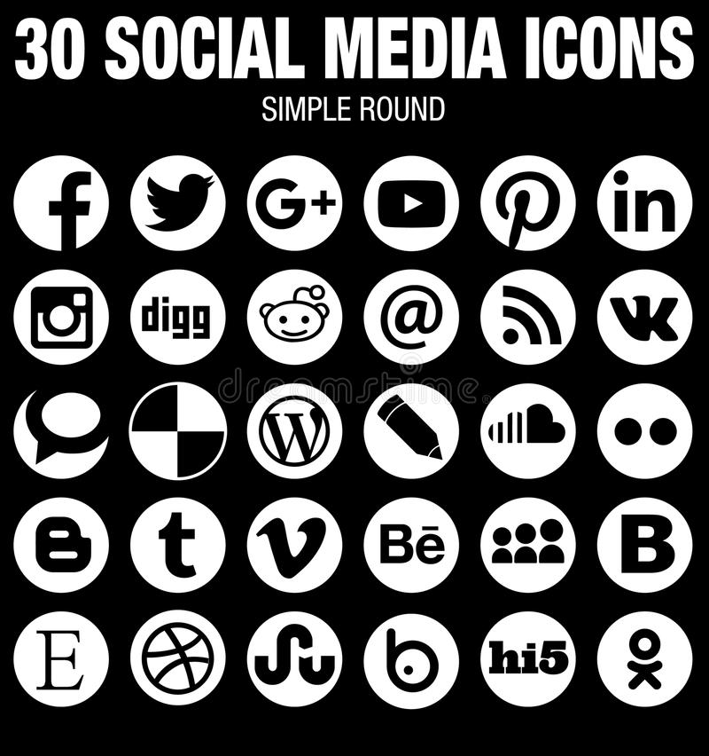 Round social media icons collection white. 30 elegant modern round Social Media icons collection, white, the base must-have icon set for webdesign and stock illustration