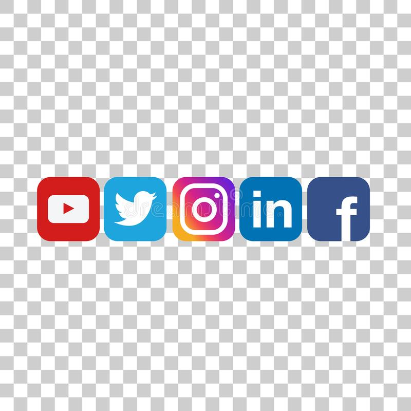 Round social media icons or social network logos flat vector icon set. Collection for apps and websites stock illustration