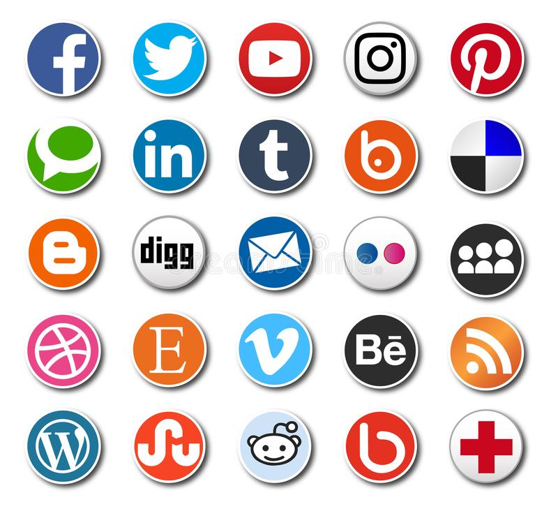 Round Social media icons - vector sharing buttons for web design and printing vector illustration